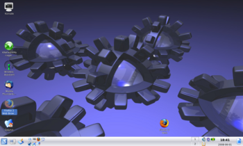 Kubuntu desktop with Triple Gears background
