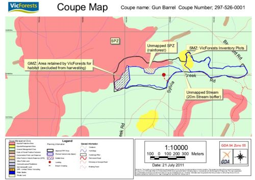 Gun Barrel Coupe map, Sylvia Creek forest