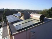 Solar hot water panels, solar chimney and solar array