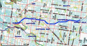 Figure 1: Route overview - Surrey Hills to Yarra River