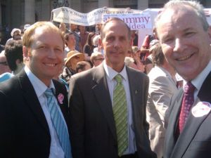 Greg Barber, Bob Brown and Brian Walters attending a protest rally in Melbourne