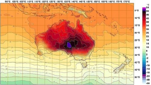 Weather forecast charge with purple and black colours added to extend temperature range to 54C