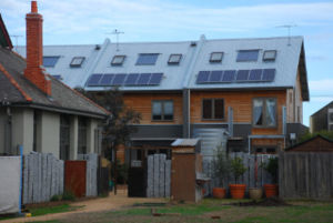 Apartments with solar panels on roof