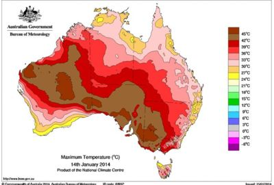 Daily maximum temperature for Australia, 14 January 2014 (BOM)