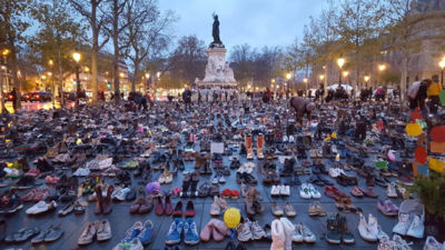 Shoes in Paris climate protest 2015