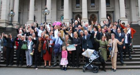 Protest against the logging of Brown Mountain at the Victorian parliament