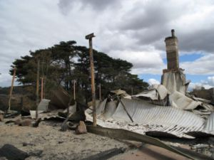 Steels Creek house damaged by bushfires in the Kinglake complex