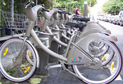Velib bike rack in Paris