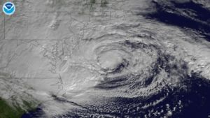 Hurricane Sandy approaching the United States